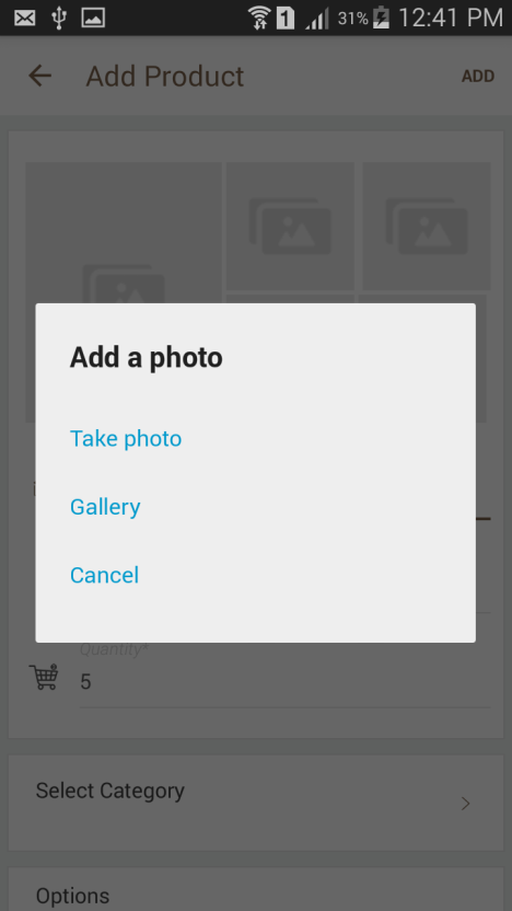 You can click product images directly from your camera or choose from your mobile gallery